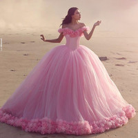 vestidos noiva Off the Shoulder Pink Tulle Wedding Dress Ball gown 2017 Lace Up Back Puffy Bride Dress Cloud robe de mariage