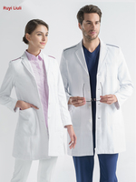 White gown oral pet hospital plastic surgery and beauty hospital work clothes for men and women long sleeve doctor's clothing