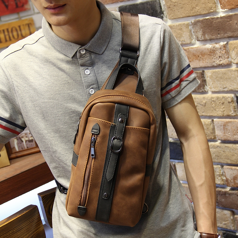 New design pu leather men's chest pack Korean fashion casual brown shoulder diagonal bag  tide male Messenger sling Bag 2016 new lady chest pack female leather satchel leisure korean tide printing leather sports backpack bag chest free shipping
