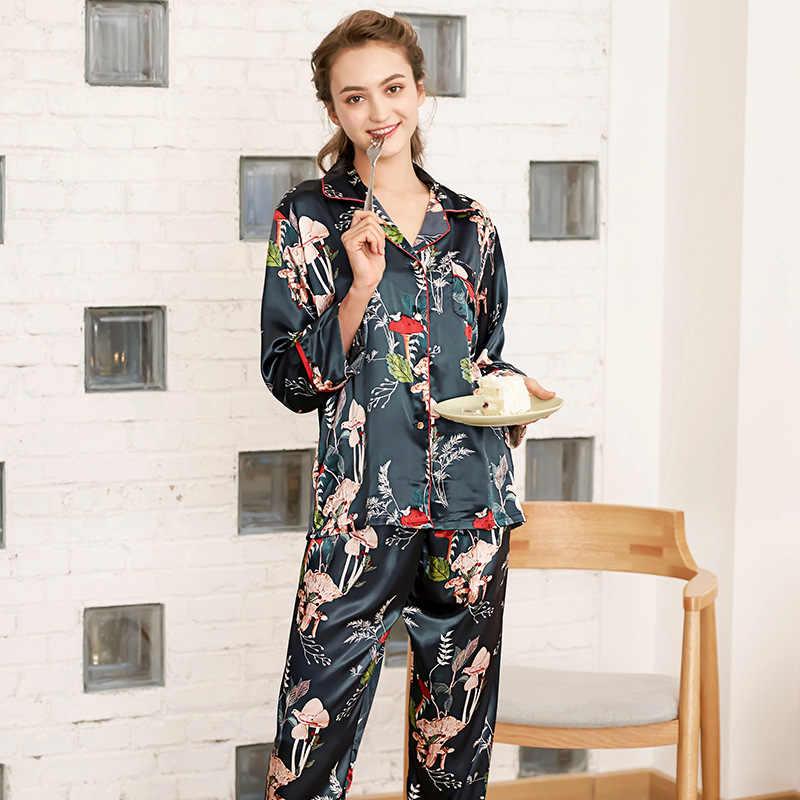 Thu Đông 2019 Phụ Nữ Mới Pyjamas Hombre Loungwear Đồ Ngủ Áo Choàng Lụa Nữ Bộ Đồ Ngủ Bộ Nightsuit Đồ Ngủ Dài Quần