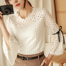 shintimes Three Quarter Flare Sleeve White Lace Shirt Women Clothes 2019 Summer Tops Hollow Out New Womens Office Female Blouses