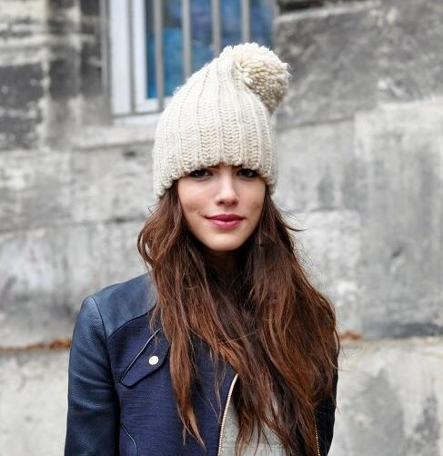 Hat female autumn and winter hat knitted fashion warm hat ear protector cap knitted fluffy hat