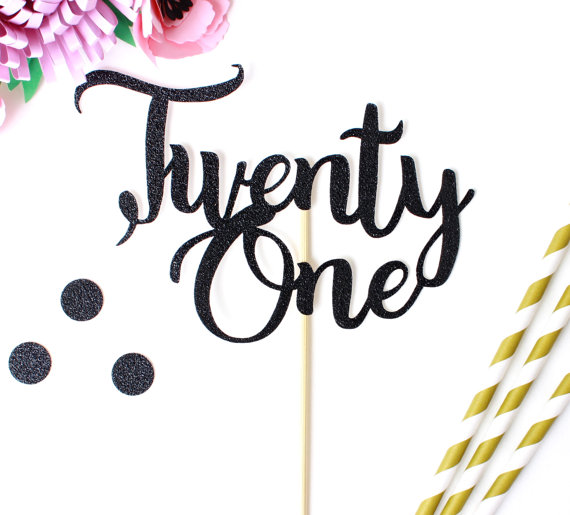 Black Twenty One Cake Topper 21 Birthday Glitter Topper