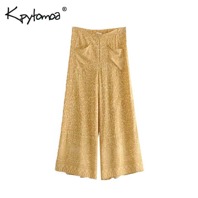 Boho Chic Summer Vintage Leopard Print Wide Leg Pants Women 2019 Fashion Loose Elastic Waist Beach Trousers Pantalones Mujer