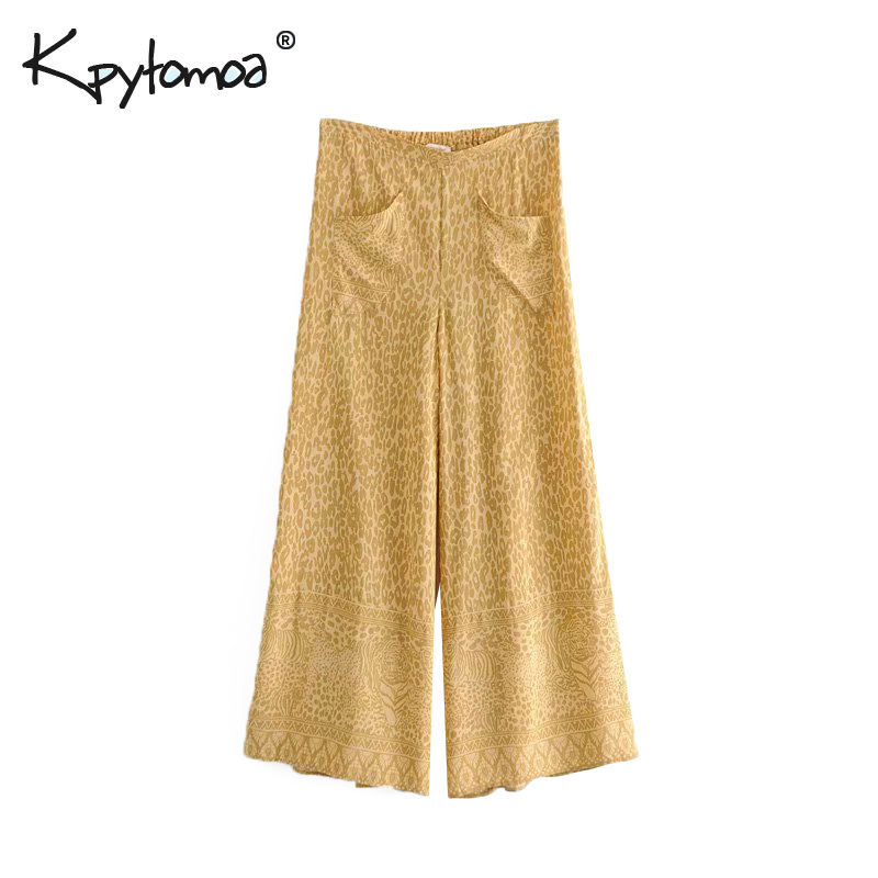 Boho Chic Summer Vintage Leopard Print   Wide     Leg     Pants   Women 2019 Fashion Loose Elastic Waist Beach Trousers Pantalones Mujer