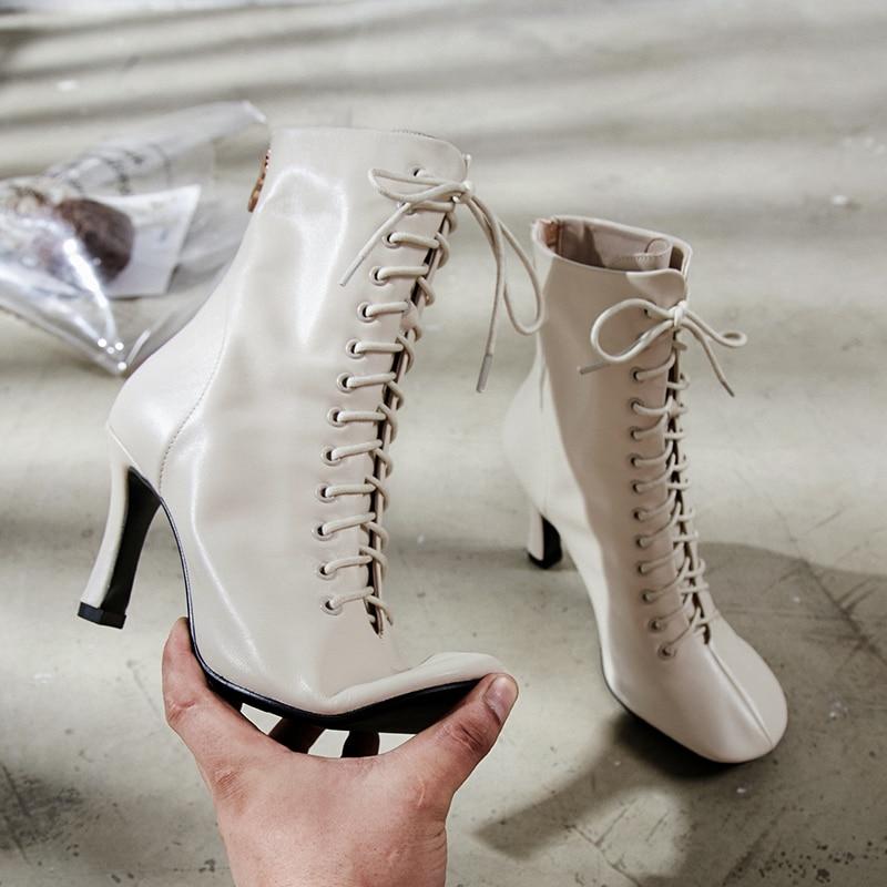 Prova Perfetto botki dla kobiet buty zimowe wysokie obcasy buty prawdziwe skórzane Botas wiązane na krzyż kwadratowe Toe buty buty damskie w Buty do kostki od Buty na  Grupa 2