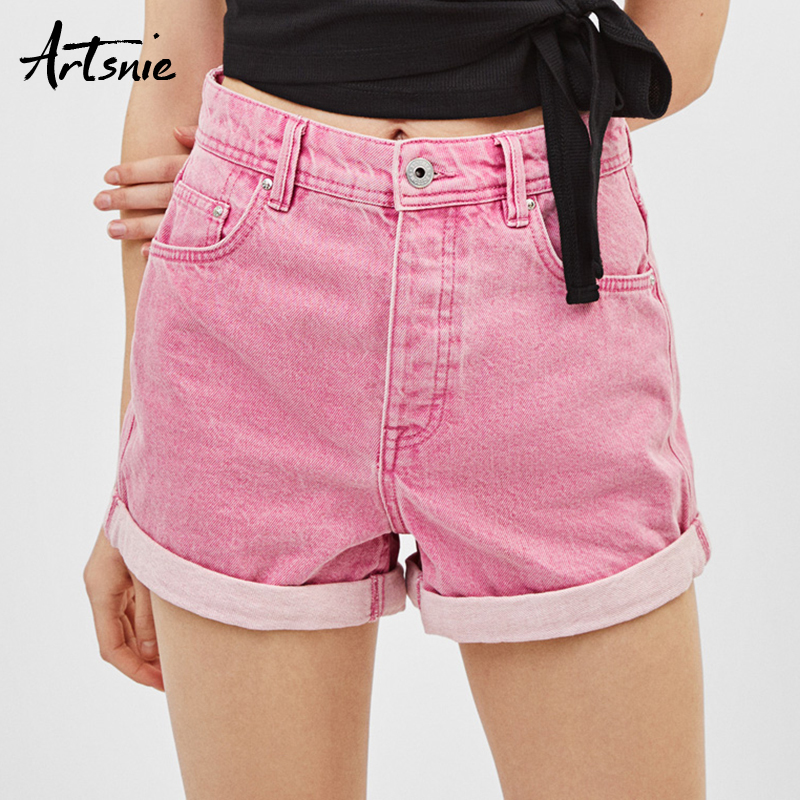 Artsnie Streetwear Casual Denim Women Shorts Mujer Summer 2019 High Waist Double Pockets Button Jeans Boyfriend Shorts Femme