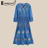 Everkaki Women Boho With Floral Embroidery Dresses Puff Sleeve Cotton Tassel Bohemian Fashion Dresses Female 2019 Summer New