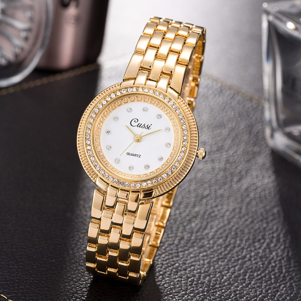 Pulseira de Relógios de Luxo Relógio de Ouro Vestido da Moda Relógio de Pulso dos Namorados Cryatal Cussi Mulheres Senhoras Quartzo Presente Reloj Mujer 2020