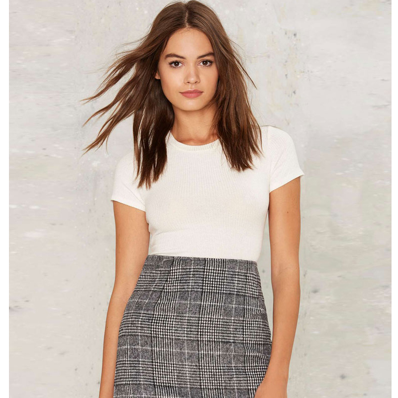 Haoduoyi Pencil Sexy High Waist Plaid Mini Short Skirt Casual Women Office Lady Buttoms Zipper Back Hot Sell The New Listing 10