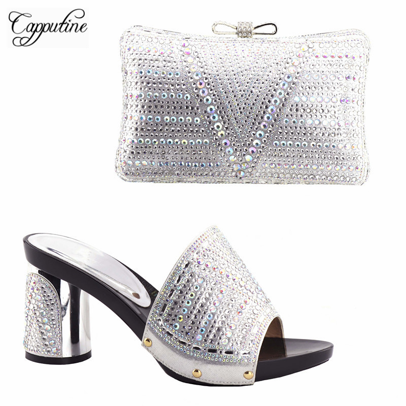 Capputine Latest Silve Color African Matching Shoes And Bags Italian In Women Nigerian Party Shoe and Bag Sets For Party red color women italian design shoes with matching bags ladies shoe and bag for african women wedding and party mm1010