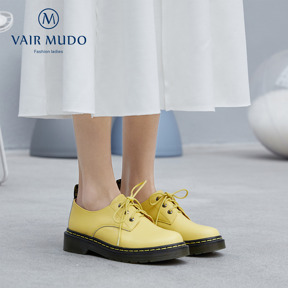 VAIR MUDO High-quality Genuine Leather Sweet Career Woman Shoes Low Heel Elegant Lace-up Four Seasons Office Shoes Women D14L image