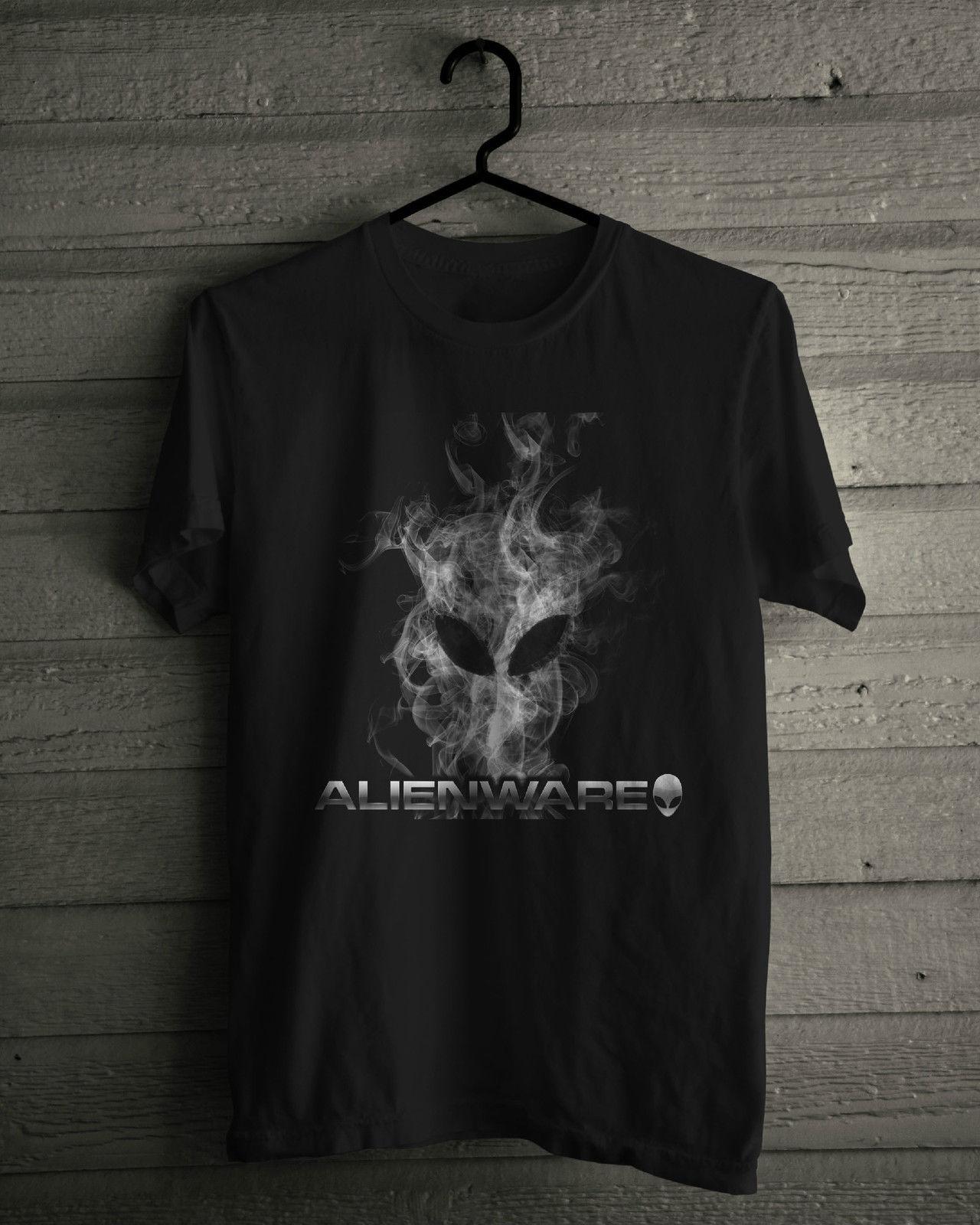 Alienware T-Shirt, Black Tee Shirts 2019 New Fashion T shirt Brand Hip Hop Print Men Tee Shirt High Quality 100% Cotton