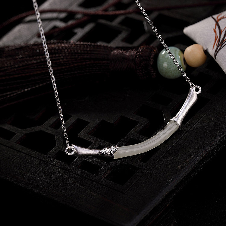 2019 925sterling silver Fashion natural Jewelry charm Bracelet For Women Exquisite Bamboo design white jade For Party Daily Wear in Bracelets Bangles from Jewelry Accessories
