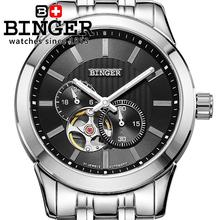 Швейцария часы мужские люксовый бренд BINGER 18 К золото Механические Наручные Часы полный нержавеющей стали водонепроницаемый BG-0406-2