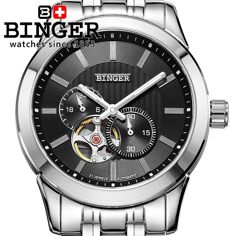 Svájc órák férfi luxus márka BINGER 18K arany Mechanikus karóra - Férfi órák - Fénykép 1