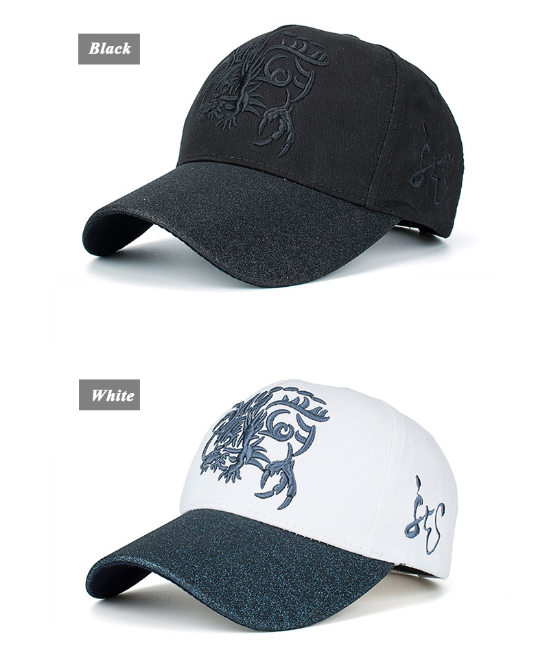 Embroidered Chinese Dragon Baseball Cap - Black Cap and White Cap Front Angle Views