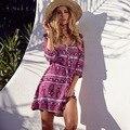 Mujeres boho vestido floral de impresión Con Cuello En V de bohemia holiday vestido de talle alto delgado beach dress vestidos sexy vestido elegante del verano