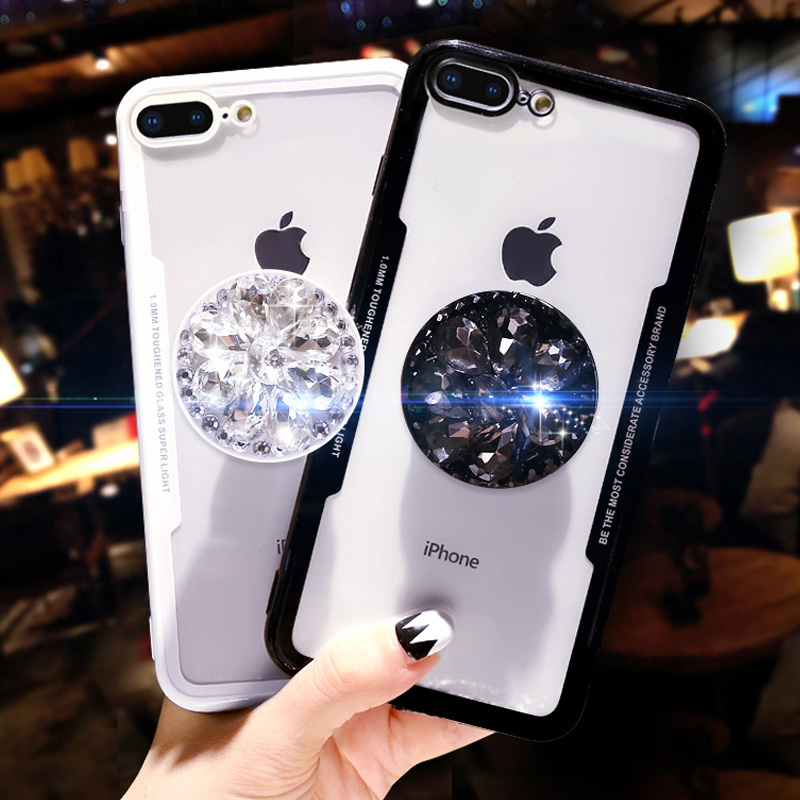 3D Diamond Drill Flower Ring Soft Case For Iphone 5 S 6 7 S Plus X XR XS 11 Pro MAX Cover For Samsung Galaxy S8 S9 S10 Note