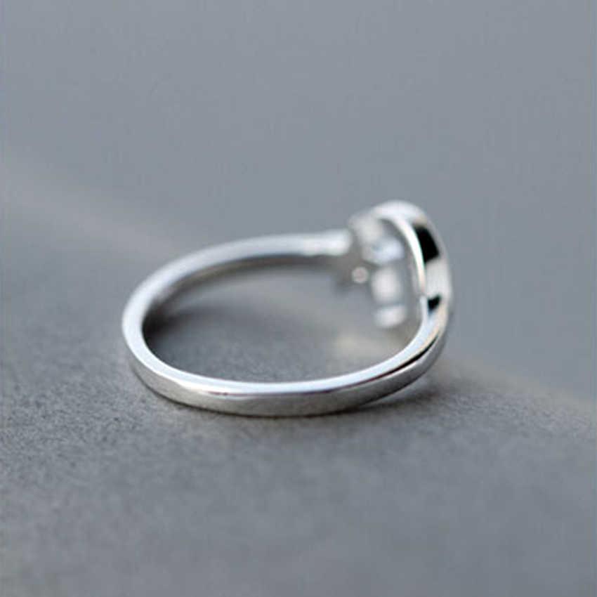 Kinitial ボヘミアンスタイルヴィンテージ 925 スターリングシルバースタームン指輪ラッキー三日月リング女性党ギフトジュエリー