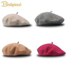 Fashion Wool Baby Hat for Girls Candy Color Elastic Infant Baby Beret Hat Kids Caps for Girls 1-4 Years 1 PC cheap Bratyeessi CN(Origin) Fitted Baby Girls Solid 13-18 months 19-24 months MS7321 46-52cm elastic kids hat girls hats