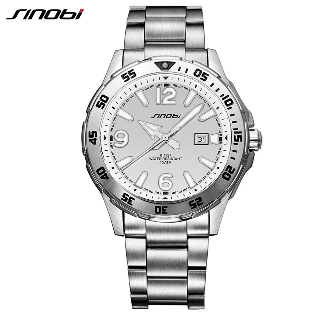 SINOBI 10Bar Waterproof Mens Diving Sports Wrist Watches Auto Date 2018 Top Luxury Brand Luminous Males Geneva Quartz-watch 007