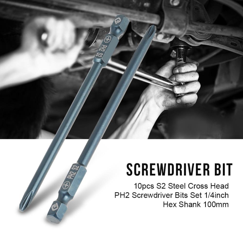 10pcs S2 Steel Cross Head PH1 Screwdriver Bits Set 1/4inch 75mm Hex Shank Bit for Screwdriver parafusadeira tornavida seti
