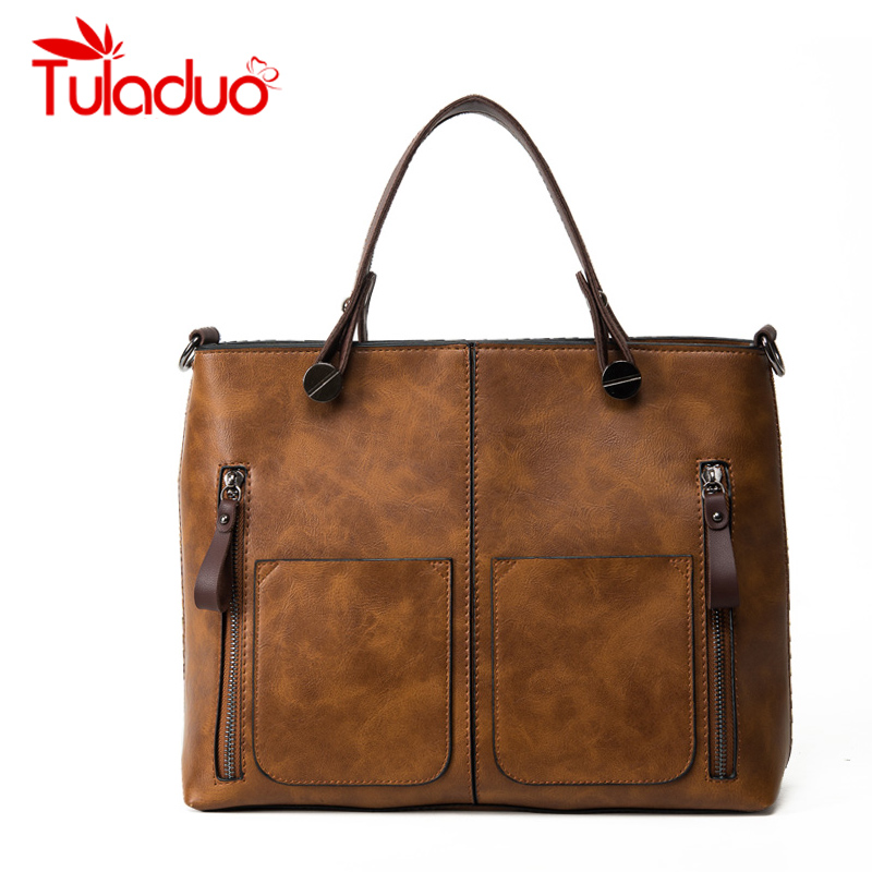 TuLaduo New Brand Vintage Lady Handbag Designer Women Shoulder Bags Famous Double Pocket Bags Casual Tote Bags Sac a Main  tuladuo women designer handbags high quality alligator sac a main vintage famous brand shoulder bag new bolsos feminina sac tote