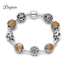 Dequeen новейший цветок бусины браслет оранжевый Любовь Сердце с украшения со стразами браслеты ювелирные изделия для женщин подарок