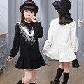 4-13 Anos Meninas Veste Tamanhos Grandes Do Bebê Menina Uniforme Escolar Para Adolescentes Meninas Roupas Outono Camisa Vestido de Algodão