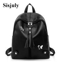 Sisjuly Designer Tassel Backpack Leather Women Casual School Bag Female Backpack Ladies Large Capacity Book Package Sac a Dos