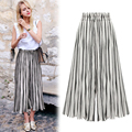 2017 Spring Striped Pleated Chiffon Wide Leg Pants Women Flounced Vintage Loose Harem Ankle-Length Pants Causal Pantalon Femme