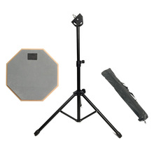 8 Inch Gray Rubber Wooden Dumb Drum Practice Training Pad with Stand for Jazz Drums Exercise Beginners