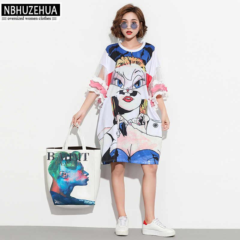 ... NBHUZEHUA 7G880 European Style Plus Size Women Dress 3D Print Ruffles Sleeve  Casual T Shirt Dress ... 8369c7da7ddf