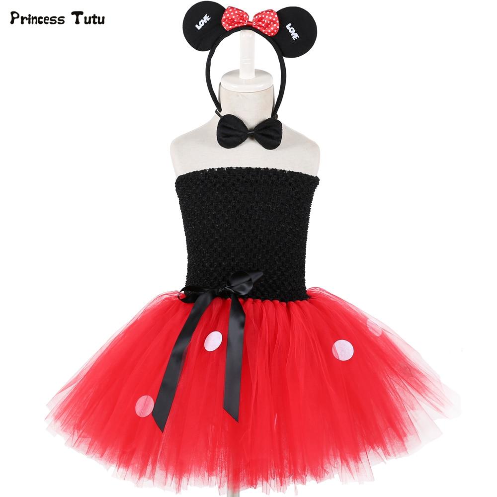 1315a4989ee 1 комплект для девочек Минни платье-пачка черный и красный цвета Необычные  девушки платье для дня рождения детское платье принцессы костюмы.