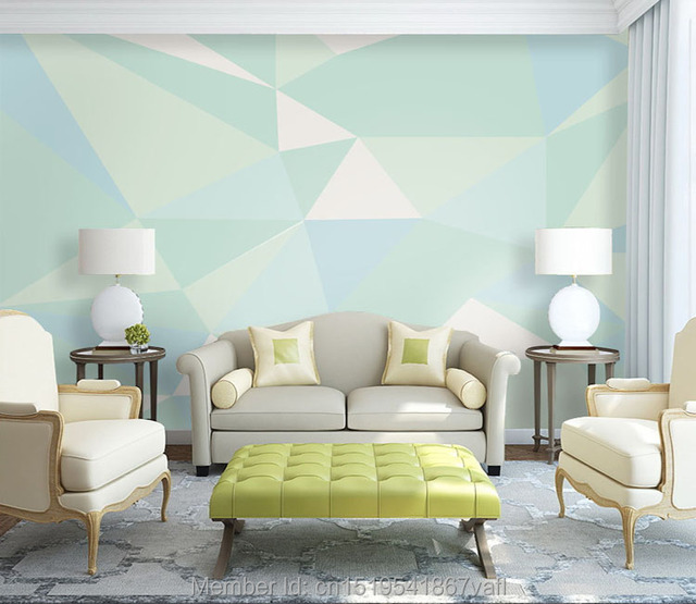 Custom 3d Wall Murals Geometric Designs Mint Green Color Wall Mural On The  Wall For Living Part 59