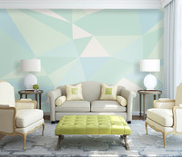 Custom Geometric Designs Mint Green Color Wall Mural On The Wall For Living Room Study Room