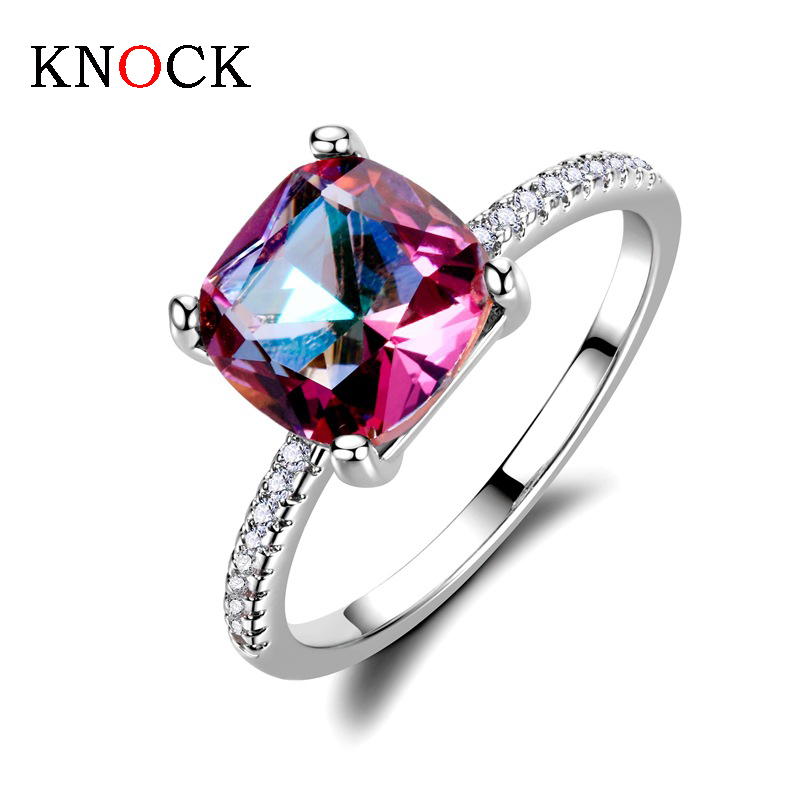 KNOCK High quality Exquisite Bijoux Fashion Square Wedding & Engagement Ring Made With Cubic Jewelry
