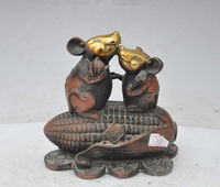 china fengshui bronze gilt wealth money coin ruyi Corn mouse mice lucky statue