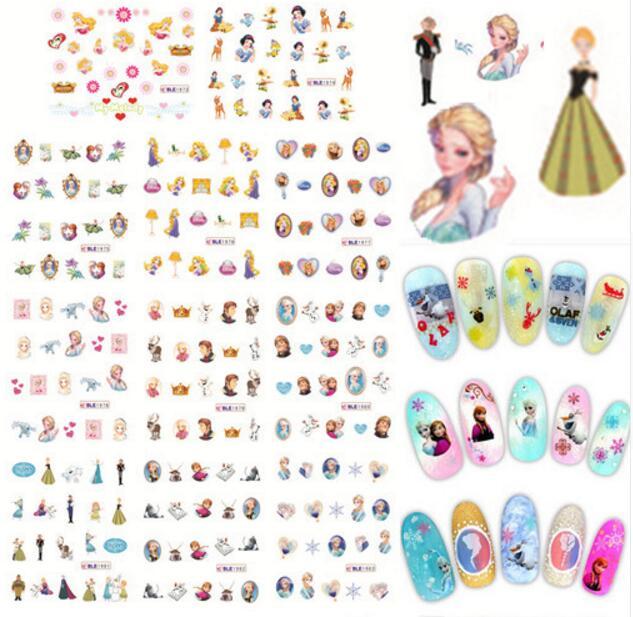 (11 DESIGNS IN 1)11Sheets/Lot Cartoon Styles Nail Art Princess Water Transfer Stickers Nail Decals Beauty Nail Art Decorations