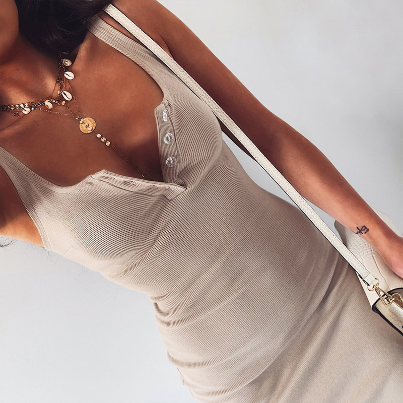 WannaThis Knee-Length Dress Knitted Elastic Sleeveless Bodycon elegant Women 2019 Summer Sexy V-Neck Button Party Slim Dresses 2