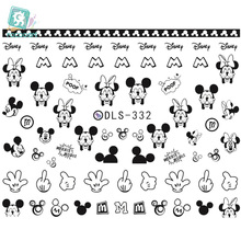 DLS329-336 DIY Water Transfer Foils Nail Art Sticker Fashion Nails Black Style Triangle Mouse Decals Minx Cute Decorations
