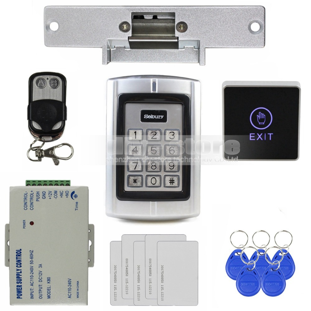 DIYSECUR Touch Button RFID 125KHz ID Card Reader Metal Keypad Door Access Control Security System Kit + Strike Door Lock BC2000 rfid security door lock system kit set with touch access control card reader electronic door lock for wooden door id keychains
