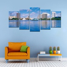 Canvas Print Lake Water Fountain Building Modern Scene HD Wall Art  Landscape Paintings for Home Decoration No Framed 5 Panel