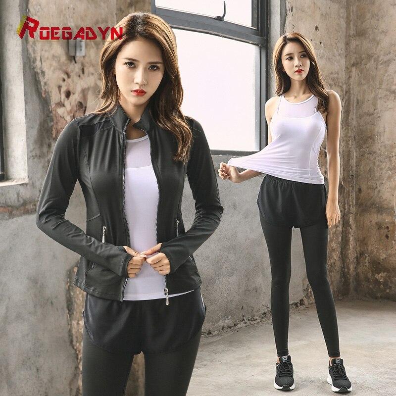 Gym nouveau pantalon survêtement vestes femmes Sport costumes Sport porter des costumes de course pour dame Sport ensemble Fitness 3 pièces