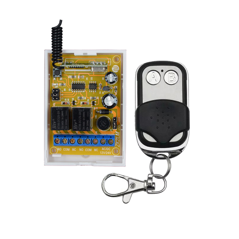 DC 24V Smart RF Wireless Remote Control Light Switch 433Mhz Inching Push Cover Metal Transmitter 2X 1 Channel Relay