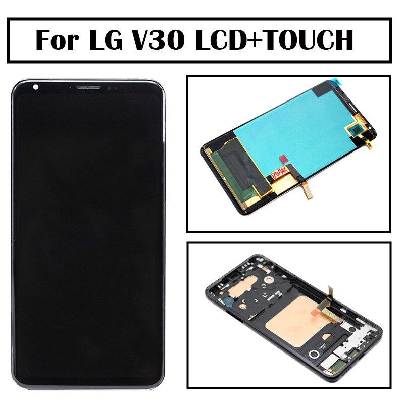 Черный для LG V30 ЖК дисплей Дисплей с Сенсорный экран дигитайзер с рамкой в сборе замена мобильного телефона ЖК дисплей Дисплей Бесплатная до...