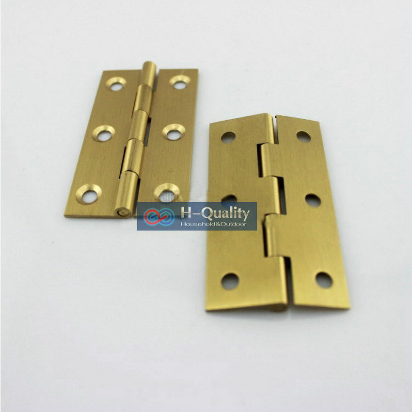 Free Brass Screws 10PCS/Lot Door Hardware Beatiful Wire Drawing 2 Inch (50MM) Length Solid Fresh Brass Door Hinge, Cabinet Hinge 10pcs gold mini butterfly door hinges cabinet drawer jewellery box hinge furniture hinge s diy hardware tools mayitr