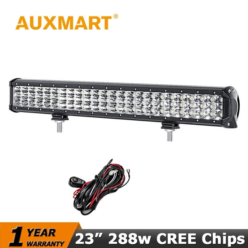 Auxmart 23 Inch LED Light Bar 3 Row CREE Chips 288W Offroad Driving Light Bar fit Pickup Truck SUV ATV 4X4 Wagon Car