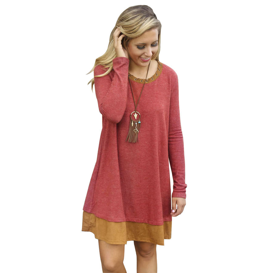 Rust Color Women Long Sleeve Dress